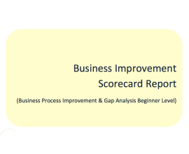 L2G Workbook - Business Improvement Scorecard Report