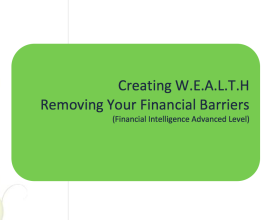 L2G Workbook - Creating W.E.A.L.T.H - Removing Financial Barriers