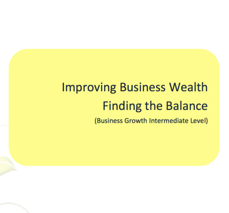 TL L2G Workbook - Improving Business Wealth - Finding the Balance