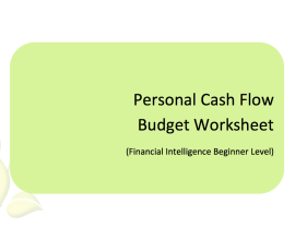 L2G Workbook - Personal Cash Flow Budget Worksheet