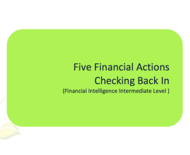 L2G Workbook - Five Financial Actions - Checking Back In