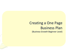 L2G Workbook - Creating a One Page Business Plan