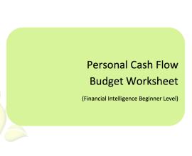 L2G Workbook - Personal Cash Flow Budget Worksheet